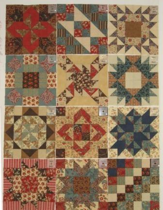 """The twelve 12"""" blocks for the sampler quilt"""