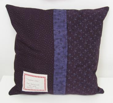 The finished cushion from the back