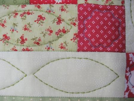 Detail of the free motion quilting