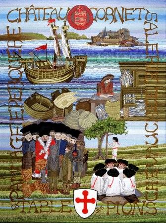 Panel 3 of the Guernsey tapestry - the 13th century