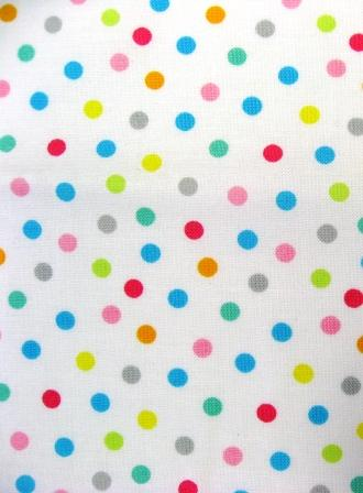 "The sashing fabric: small dots (about 1/4"") on white."