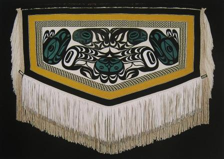 Klukwan Yadi by Cheryl Samuel. A modern robe incorporating Chilkat and Ravenstail weaving techniques. From Mythic Beings, Spirit art of the Northwest Coast by Gary Wyatt, copyright Spirit Wrestler Gallery, Vancouver.