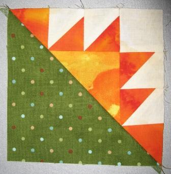 One of the Kansas Troubles corner blocks (not yet trimmed). There are 12 of these in the quilt.