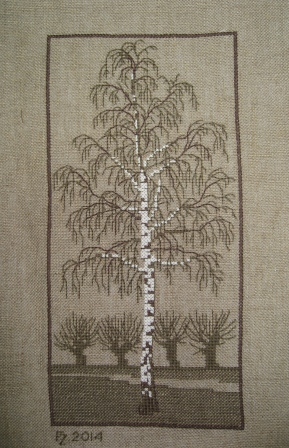 Cross stitch Silver Birch  on unbleached coarse linen from a design by Gerda Bengtsson.