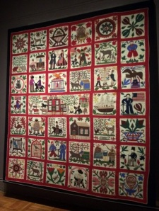 An appliqué quilt from the exhibit.