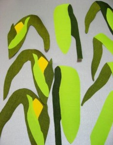 The corn leaves, cut out, backed with fusible and partly fused.