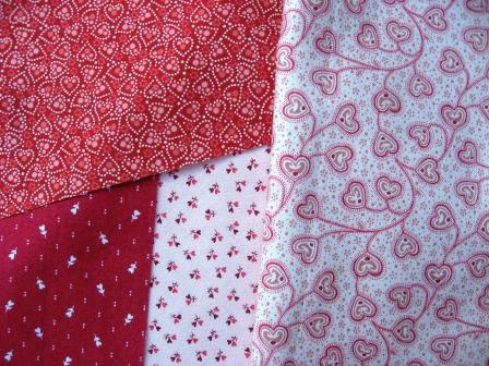 The heart themed fabrics for the quilt top