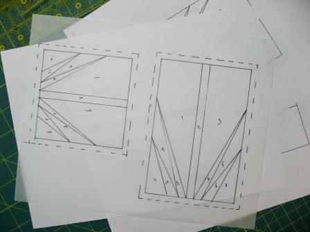 Patterns traced on foundation piecing paper