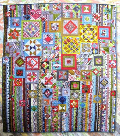 The original Gypsy Wife quilt. The yellow cross hatching indicates the blocks I have made so far.