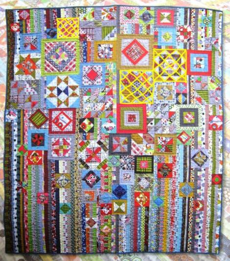 The original Gypsy Wife Quilt. Yellow cross-hatching indicates blocks pieced to date.