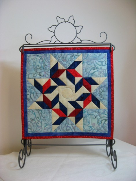 """The finshed 12 x 12"""" x 12"""" July Quilt."""
