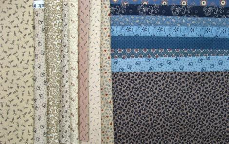 The fabric selection for the first block.