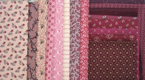 The fabric selection for the pink block.