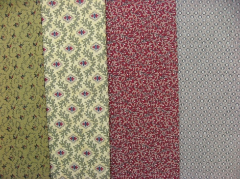 The fabric selection for block two.