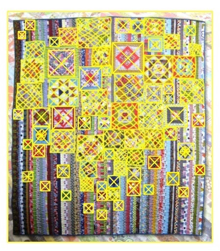 Original quilt, with all the completed blocks cross-htached in yellow.